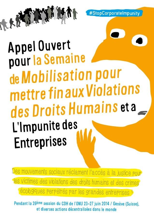 AppelOuvert pourlaSemaine deMobilisationpour mettrefinauxViolations desDroitsHumains eta L'Impunitedes Entreprises Des mou...