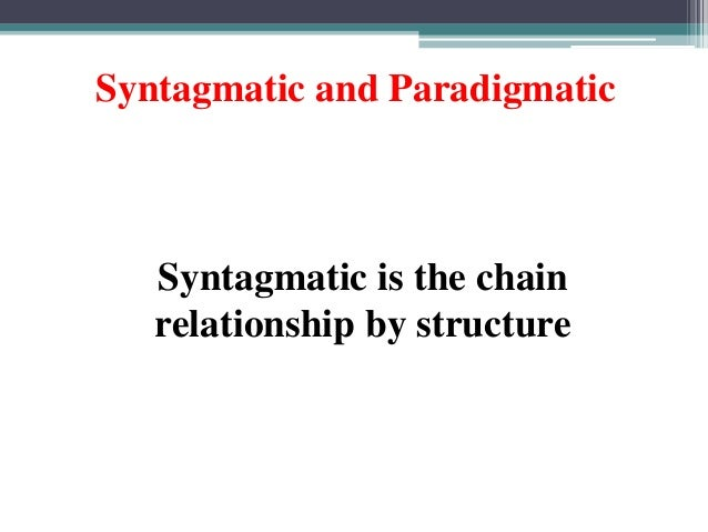 syntagmatic and associative relationship