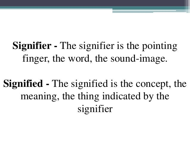 Signifier - The signifier is the pointing finger, the word, the sound-image. Signified - The signified is the concept, the...