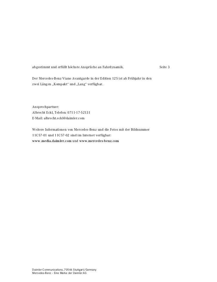 abgestimmt und erfüllt höchste Ansprüche an Fahrdynamik.                       Seite 3Der Mercedes-Benz Viano Avantgarde i...