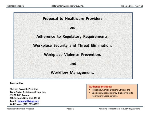 Thomas Bronack © Data Center Assistance Group, Inc. Release Date; 4/27/13Healthcare Provider Proposal Page: 1 Adhering to ...