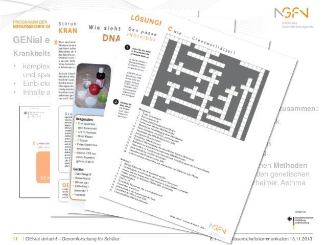 GENial einfach! Krankheitsorientierte Genomforschung für den Klassenraum • komplexes Wissen zur Humangenomforschung fundie...