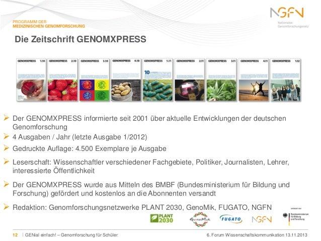 Die Zeitschrift GENOMXPRESS   Der GENOMXPRESS informierte seit 2001 über aktuelle Entwicklungen der deutschen Genomforsch...