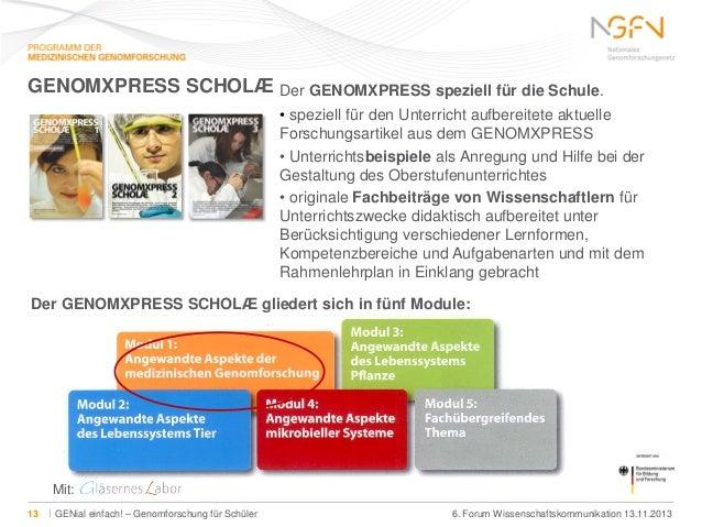 GENOMXPRESS SCHOLÆ Der GENOMXPRESS speziell für die Schule. • speziell für den Unterricht aufbereitete aktuelle Forschungs...