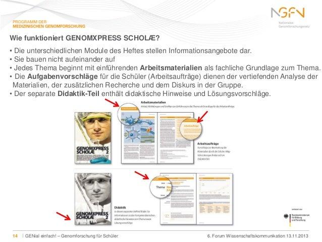 Wie funktioniert GENOMXPRESS SCHOLÆ? • Die unterschiedlichen Module des Heftes stellen Informationsangebote dar. • Sie bau...