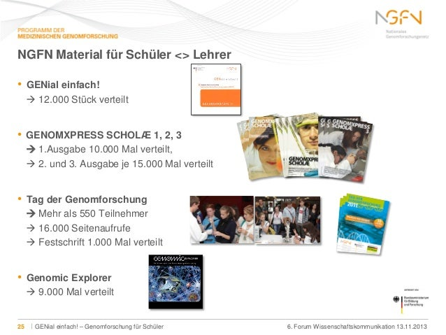 NGFN Material für Schüler <> Lehrer •  GENial einfach!  12.000 Stück verteilt  •  GENOMXPRESS SCHOLÆ 1, 2, 3  1.Ausgabe ...