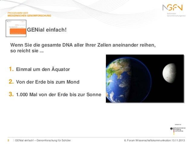 GENial einfach! Wenn Sie die gesamte DNA aller Ihrer Zellen aneinander reihen, so reicht sie ...  1. 2.  Von der Erde bis ...