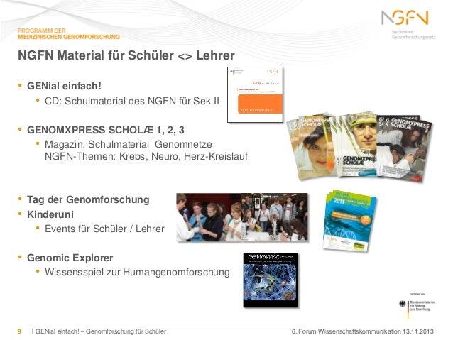 NGFN Material für Schüler <> Lehrer •  GENial einfach! • CD: Schulmaterial des NGFN für Sek II  •  GENOMXPRESS SCHOLÆ 1, 2...