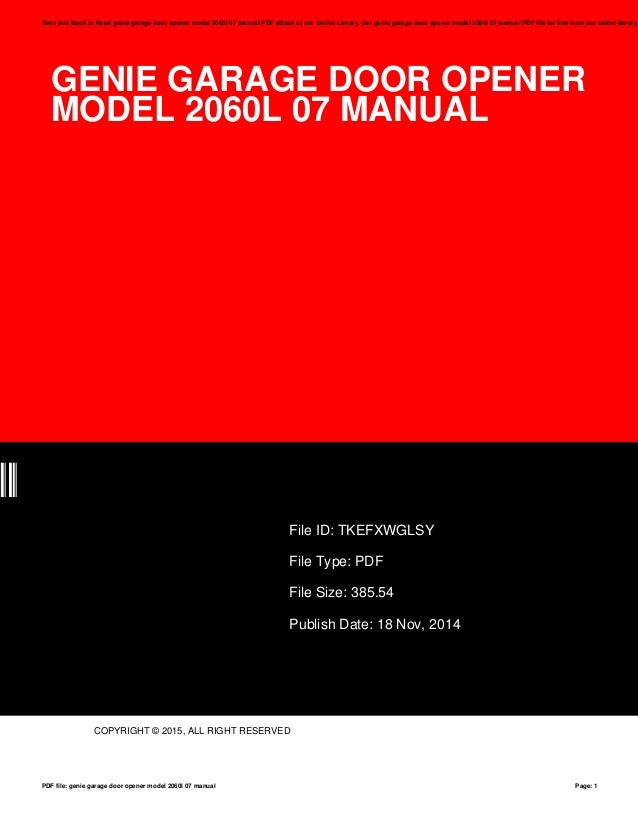 genie garage door opener model 2060l 07 manual rh slideshare net Lady Genie Ad DirecTV Genie Features