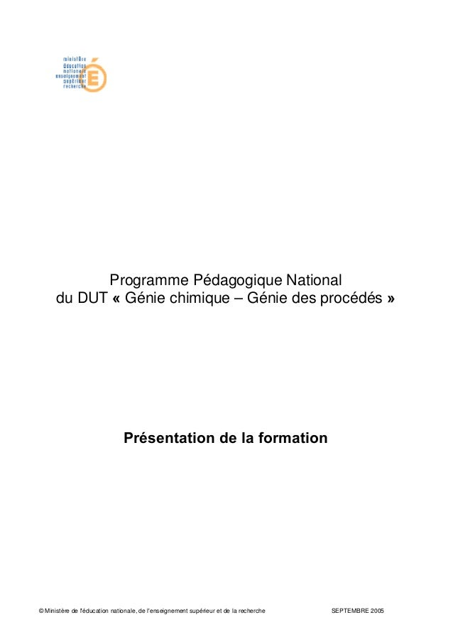 © Ministère de l'éducation nationale, de l'enseignement supérieur et de la recherche SEPTEMBRE 2005 Programme Pédagogique ...
