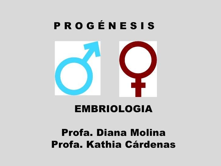 P R O G É N E S I S  EMBRIOLOGIA Profa. Diana Molina Profa. Kathia Cárdenas