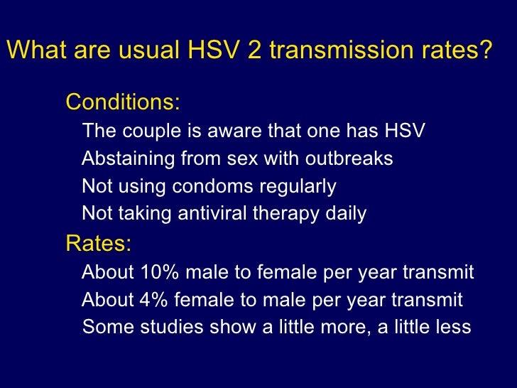 Incidence of transmission of herpes via oral sex
