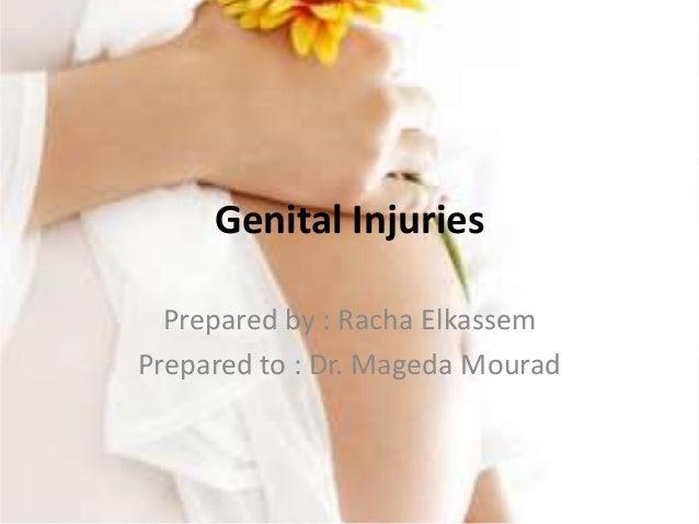 Genital Injuries Prepared by : Racha Elkassem Prepared to : Dr. Mageda Mourad