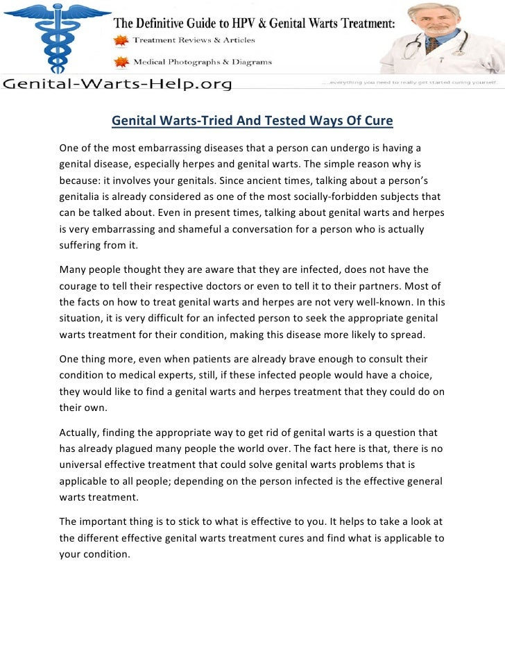 Genital Warts-Tried And Tested Ways Of Cure