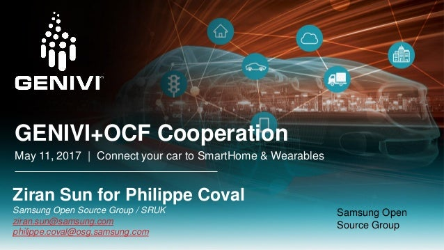 GENIVI+OCF Cooperation May 11, 2017 | Connect your car to SmartHome & Wearables Ziran Sun for Philippe Coval Samsung Open ...