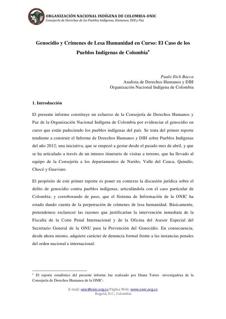 ORGANIZACIÓN NACIONAL INDÍGENA DE COLOMBIA-ONIC        Consejería de Derechos de los Pueblos Indígenas, Humanos, DIH y Paz...