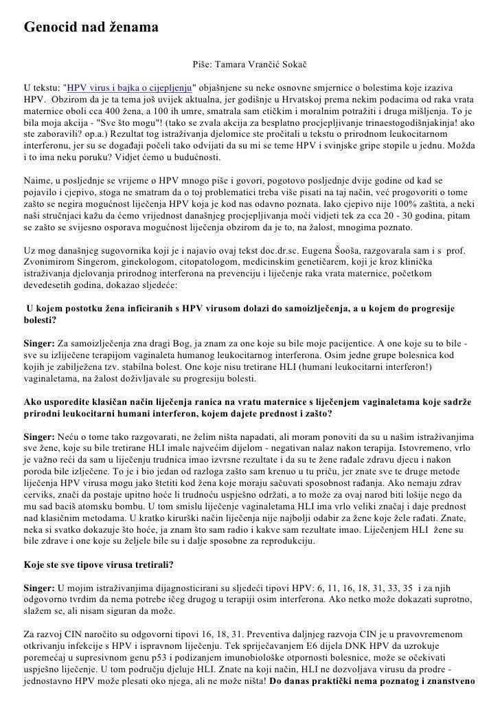 """Genocid nad ženama <br />Piše: Tamara Vrančić Sokač<br />U tekstu: """" HPV virus i bajka o cijepljenju""""  objašnjene su neke ..."""
