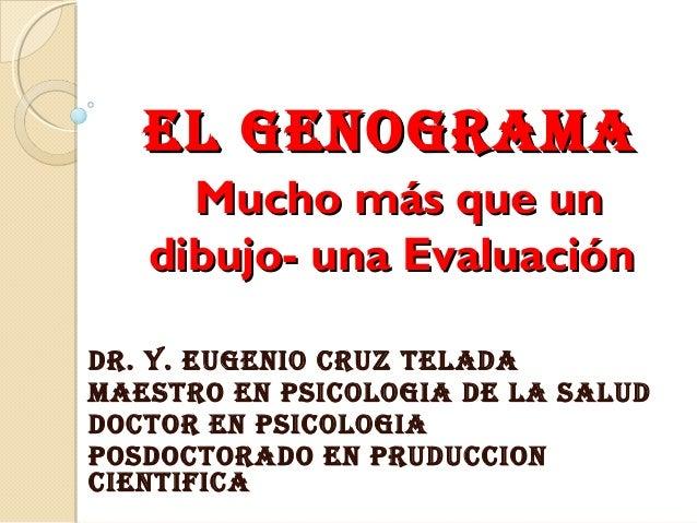 El GENOGRAMA Mucho más que un dibujo- una Evaluación DR. Y. EUGENIO CRUZ TElADA MAESTRO EN PSICOlOGIA DE lA SAlUD DOCTOR E...
