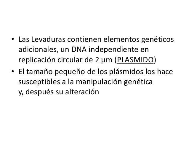 • Las Levaduras contienen elementos genéticos adicionales, un DNA independiente en replicación circular de 2 μm (PLASMIDO)...