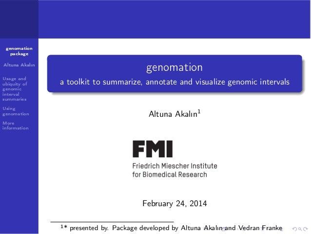 genomation package  genomation  Altuna Akalın Usage and ubiquity of genomic interval summaries  a toolkit to summarize, an...