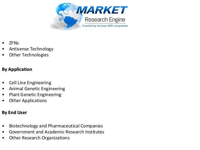 •ZFNs •AntisenseTechnology •OtherTechnologies By ApplicationBy Application •CellLineEngineering •...