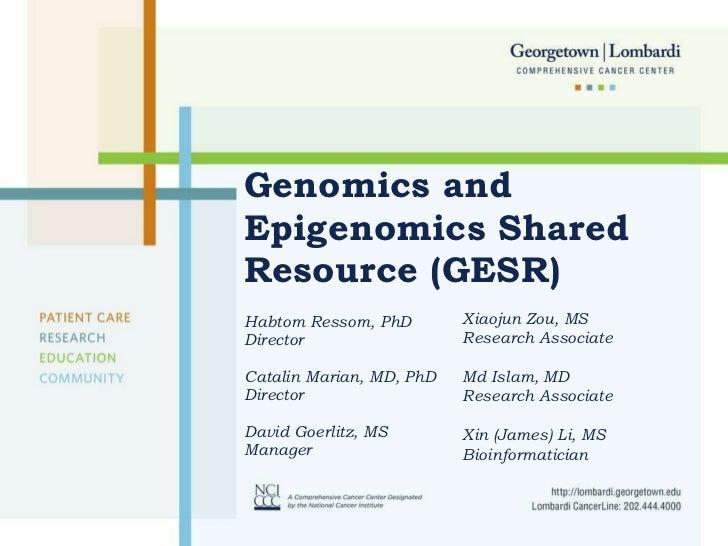 Genomics and Epigenomics Shared Resource (GESR) Habtom Ressom, PhD Director Catalin Marian, MD, PhD Director David Goerlit...