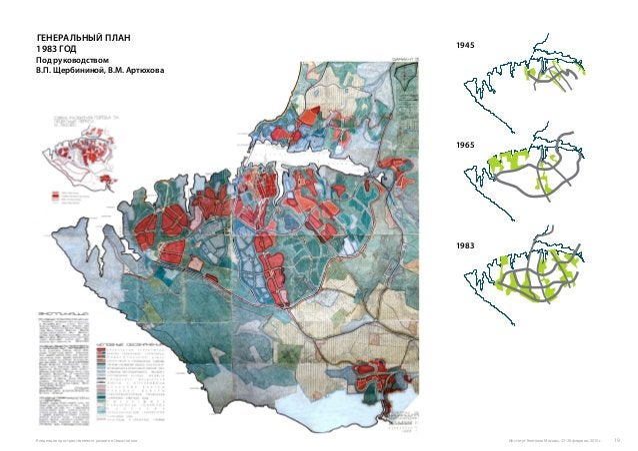 Генеральный план 1983 год Под руководством В.П. Щербининой, В.М. Артюхова 1945 1965 1983 Институт Генплана Москвы, 27-28 ф...