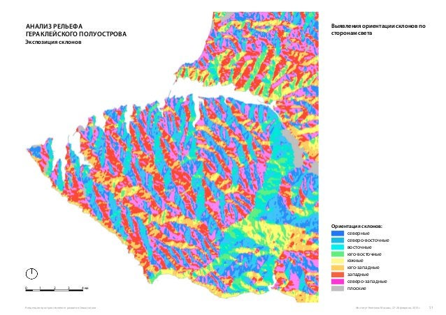 Ориентация cклонов: северные северо-восточные восточные юго-восточные южные юго-западные западные северо-западные плоские ...