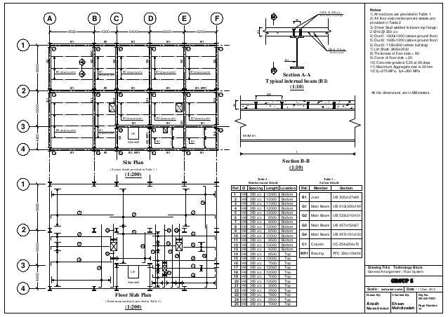 Genral arrangement of 2 floor building + RC floor system