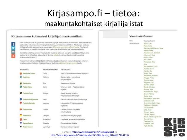 Kirjasampo.fi – tietoa: maakuntakohtaiset kirjailijalistat Lähteet: http://www.kirjasampo.fi/fi/maakunnat ja http://www.ki...
