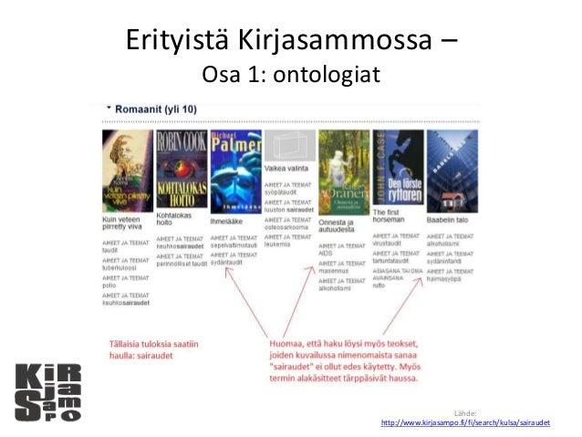Erityistä Kirjasammossa – Osa 1: ontologiat Lähde: http://www.kirjasampo.fi/fi/search/kulsa/sairaudet