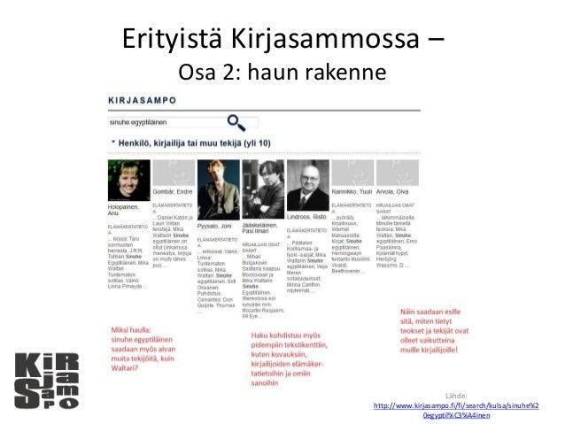 Erityistä Kirjasammossa – Osa 2: haun rakenne Lähde: http://www.kirjasampo.fi/fi/search/kulsa/sinuhe%2 0egyptil%C3%A4inen
