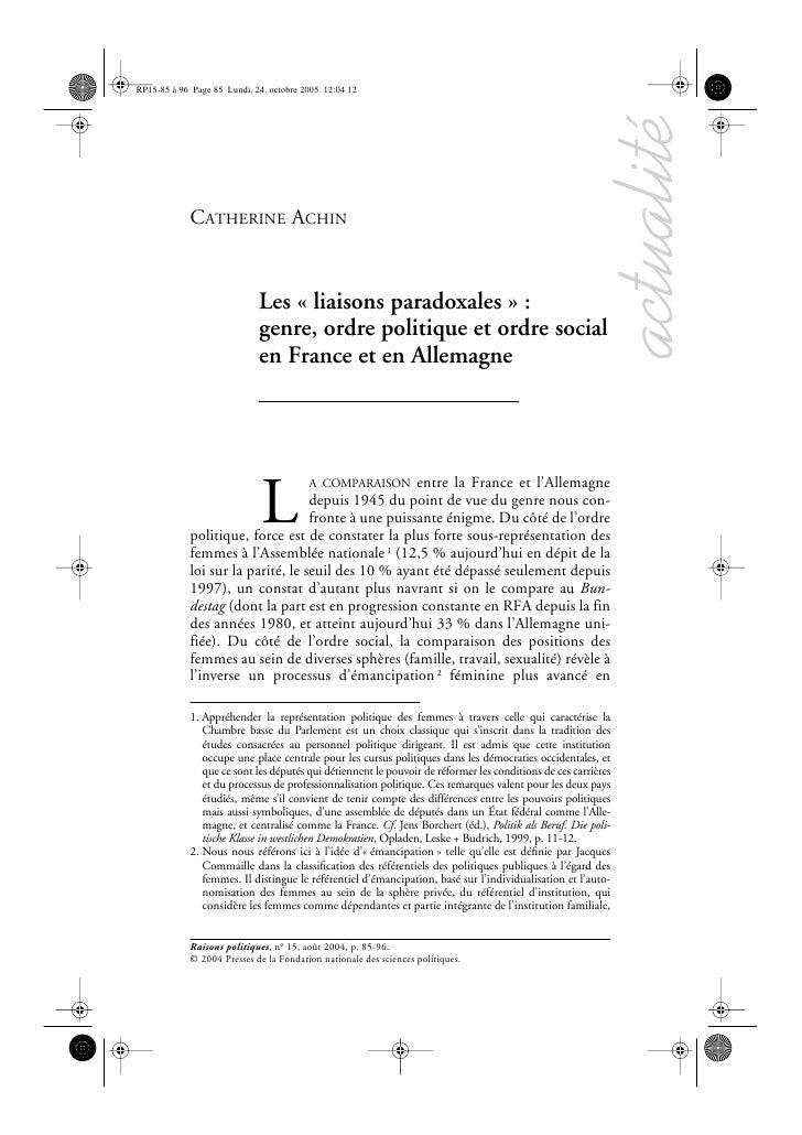 actualité CATHERINE ACHIN                   Les « liaisons paradoxales » :                 genre, ordre politique et ordre...