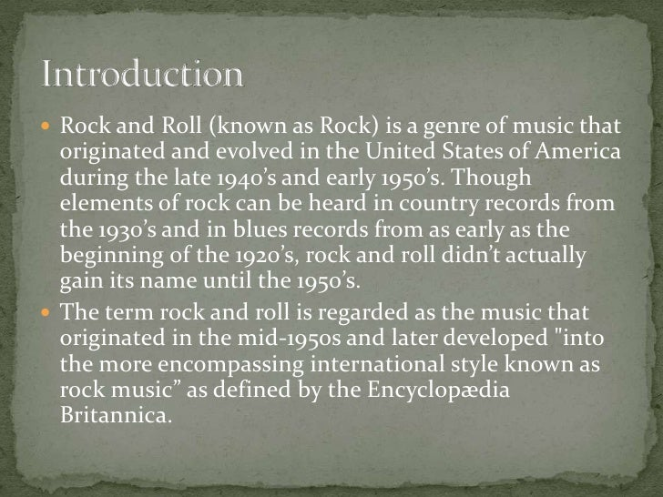Genre Research Rock And Roll
