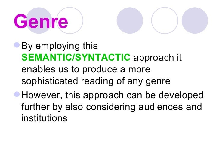 genre theory John fiske (1987)- genres reflect the zeitgeist john fiske (1987) asserts that generic conventions 'embody the crucial ideological concerns of the time in which they are popular' (fiske 1987, 110.