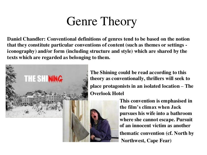 genre theory Genre is a concept used in film studies and film theory to describe similarities between groups of films based on esthetic or broader social, institutional, cul.