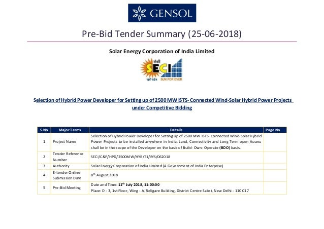 Pre-Bid Tender Summary (25-06-2018) Solar Energy Corporation of India Limited S.No Major Terms Details Page No 1 Project N...
