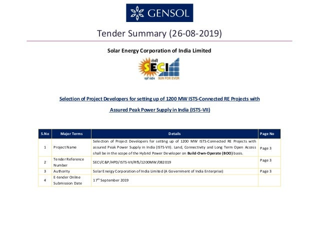 Tender Summary (26-08-2019) Solar Energy Corporation of India Limited Selection of Project Developers for setting up of 12...