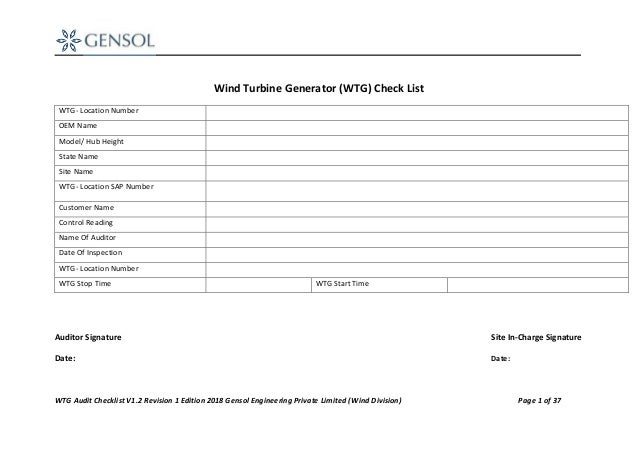 WTG Audit Checklist V1.2 Revision 1 Edition 2018 Gensol Engineering Private Limited (Wind Division) Page 1 of 37 Wind Turb...