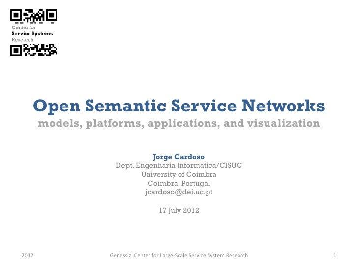 Open Semantic Service Networks       models, platforms, applications, and visualization                               Jorg...