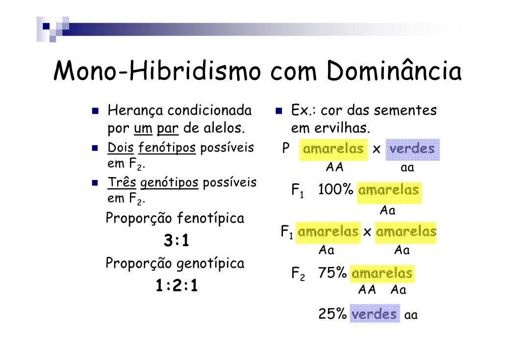 Mono-Hibridismo com Dominância    Herança condicionada        Ex.: cor das sementes    por um par de alelos.       em ervi...