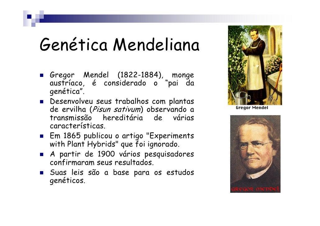"""Genética Mendeliana Gregor Mendel (1822-1884), monge austríaco, é considerado o """"pai da genética"""". Desenvolveu seus trabal..."""
