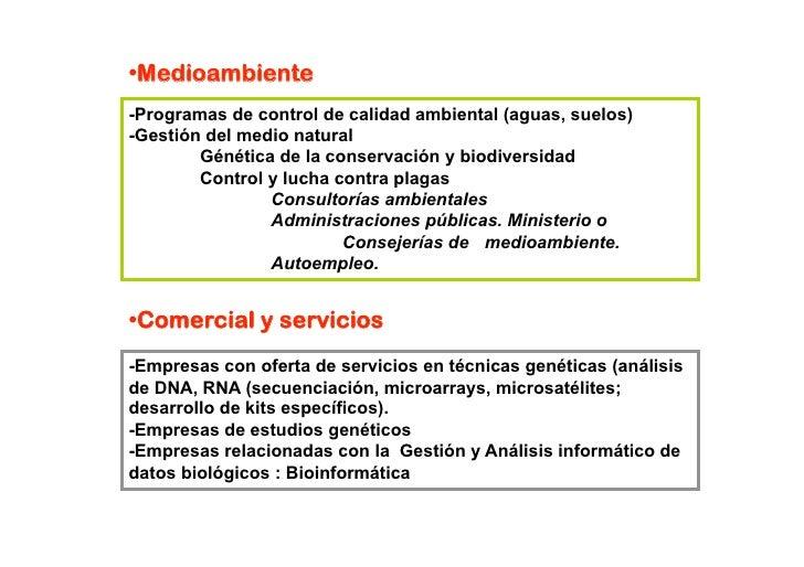• edioambiente  M -Programas de control de calidad ambiental (aguas, suelos) -Gestión del medio natural         Génética ...
