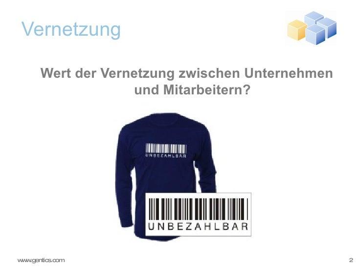 Vernetzung <ul><ul><li>Wert der Vernetzung zwischen Unternehmen und Mitarbeitern? </li></ul></ul>