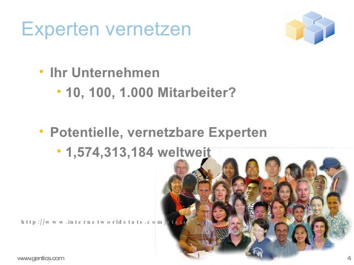 Experten vernetzen <ul><ul><li>Ihr Unternehmen </li></ul></ul><ul><ul><ul><li>10, 100, 1.000 Mitarbeiter? </li></ul></ul><...