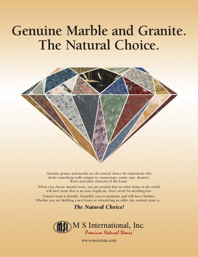Genuine granite and marble are the natural choice for individuals who desire something really unique in countertops, vanit...