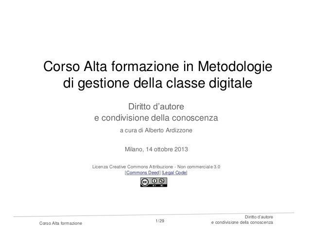 Corso Alta formazione in Metodologie di gestione della classe digitale Diritto d'autore e condivisione della conoscenza a ...