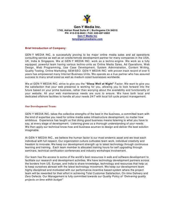 Gen-Y Media Inc.                           1745, Adrian Road Suite #1   Burlingame CA 94010                               ...