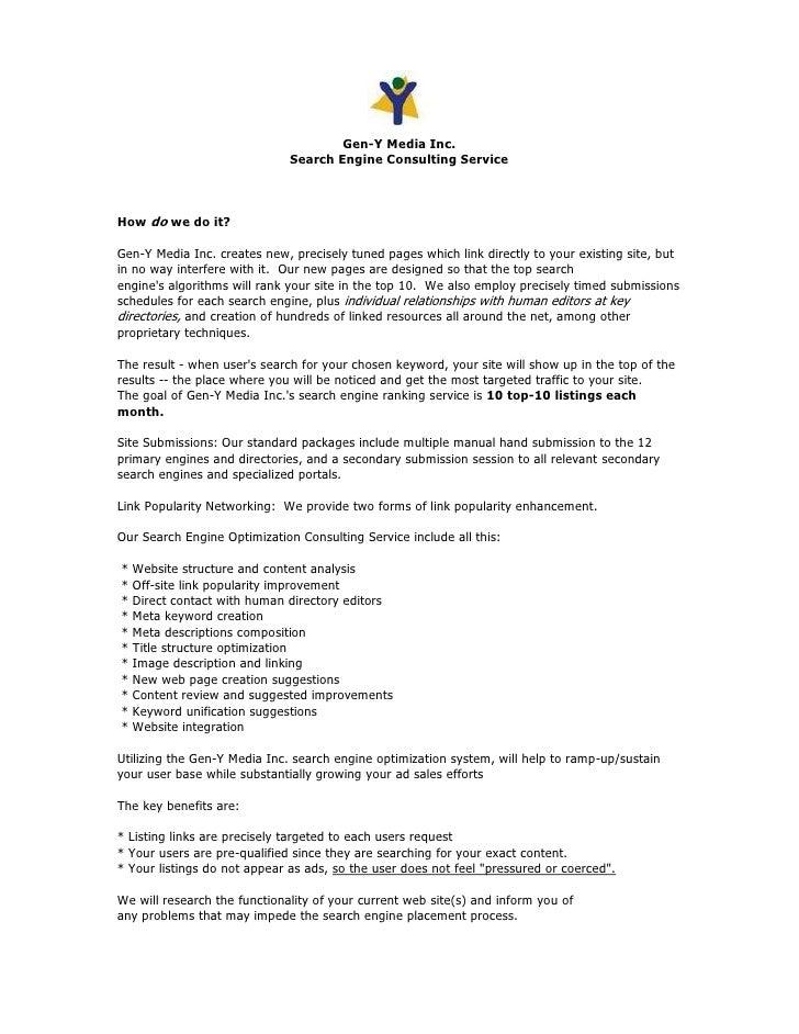 Gen-Y Media Inc.                               Search Engine Consulting Service    How do we do it?  Gen-Y Media Inc. crea...