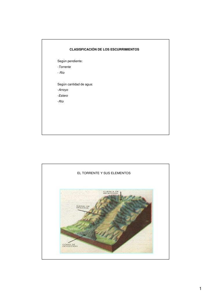 CLASISFICACIÓN DE LOS ESCURRIMIENTOS   Según pendiente: -Torrente - Río   Según cantidad de agua: -Arroyo -Estero -Río    ...